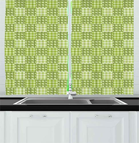 Ambesonne Abstract Kitchen Curtains, Polka Dots and Checkere