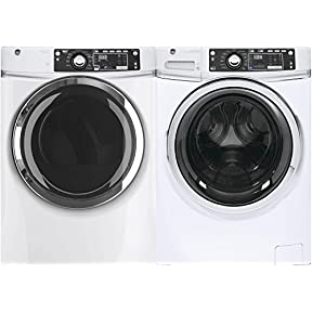 GE White Front Load Laundry Pair with GFW480SSKWW 28' Washer and GFD48ESSKWW Electric Dryer