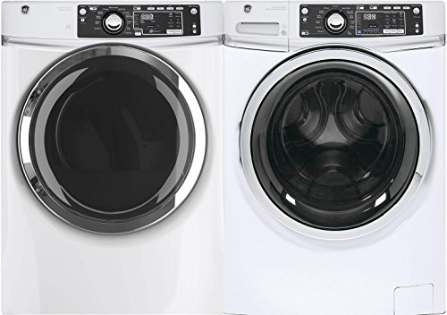 GE White Front Load Laundry Pair with GFW480SSKWW 28″ Washer and GFD48ESSKWW Electric Dryer