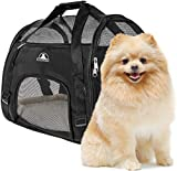 Pet Union Pet Carrier for Small Dogs - Cats - Puppies - Kittens - Pets (up to 10 lbs) Collapsible - Travel Friendly - Cozy and Soft Dog Bed - Carry Your Pet Safely and Comfortably (16.9 x 8.3 x 11 Inch)