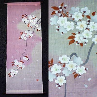 麻タペストリー『吉野桜』(新2)(掛軸、和風タペストリー)【春/さくら、サクラ】
