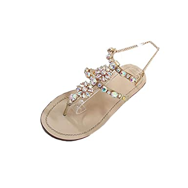 4764bd8f64d00 Tsmile Women Sandals Flat Shining Rhinestones Chain Round Toe Flat Sandals  Outdoor Casual Comfortable Shoes Gold