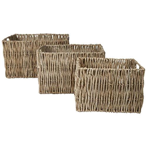 Open Top Woven Wicker Storage Bins / Organizer Baskets (Nesting Set of 3) (Natural)