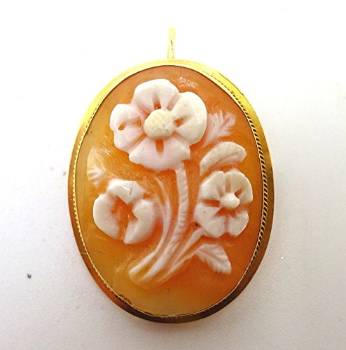 Oval 18k Gold Genuine Natural Cameo Pin / Pendant with Carved Flowers (#J3684) (Cameo Pin Oval)
