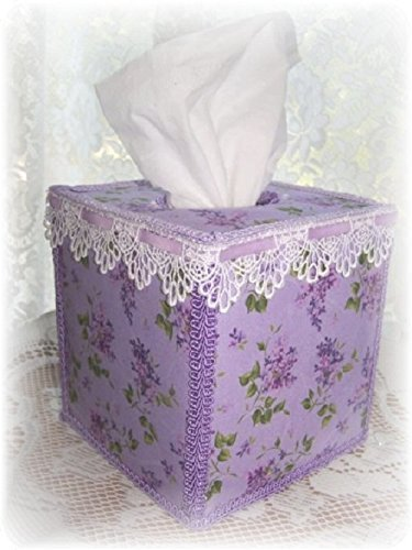 Lovely Lilacs Tissue Box Cover Lt Purple Ribbon and Scalloped Crochet Lace
