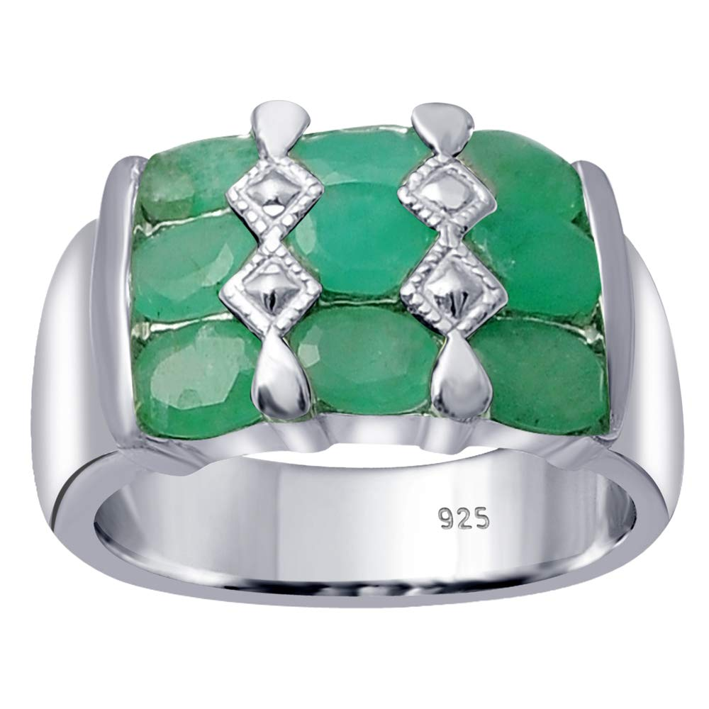 Orchid Jewelry 925 Sterling Silver Emerald Cocktail Unisex Ring, (Size 8)