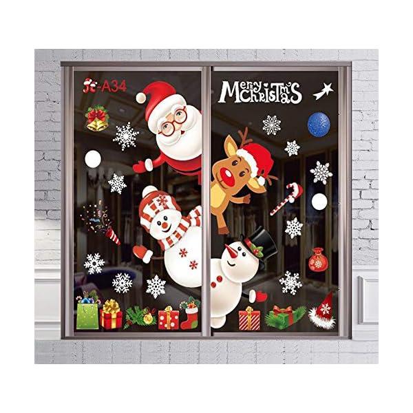 Idefair Decorazioni Natalizie Adesivi per finestre, Vetrofanie Rimovibili Decalcomanie Albero di Natale di Babbo Natale Adesivo murale Porta Decalcomania Decorazioni per la casa Natale (Xmas3) 1 spesavip