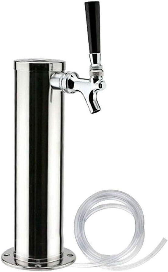 Eapmic 3Inch Draft Beer Tower Faucet Stainless Steel Homebrew Kegerator Single Handle Draft Beer Dispenser Tap