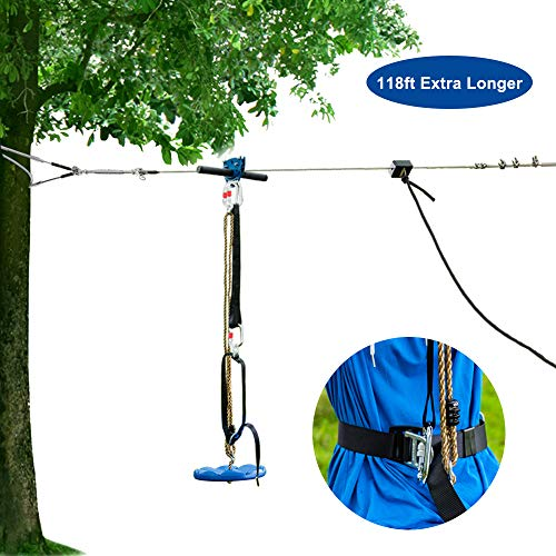 JOYMOR 118ft Backyard Zip Line Kit with Trolley, Brake System,Safe Belt and Seat