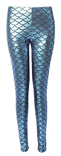ChezAbbey Womens Mermaid Fish Scale Printed Leggings Stretch Tight Pants, Blue, M