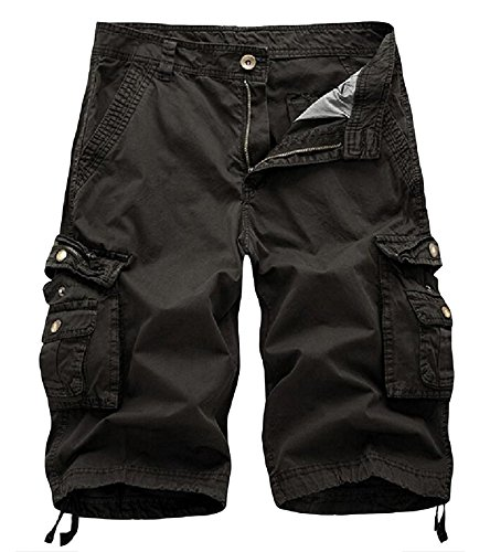 AOYOG Mens Camo Cargo Shorts Relaxed Fit Multi-Pocket Outdoor Camouflage Cargo Shorts Cotton ()