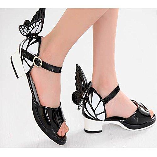 ZGSX 2017 sandalias de los niños del verano alas de mariposa chicas coreanas sandalias 3 cm de tacón alto de los zapatos de princesa Negro