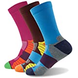 Breathable Padded Crew Socks Getspor Soft Cushioned Running Sock For Men Women 3 Pair Multicolor