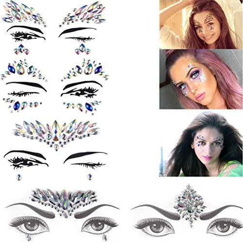 5 Sheets Temporary Rhinestone Gem Face Jewel Stickers Rhinestone Tattoo Eye Glitter Shimmer Nipple Chest Jewels Party Bindi Body Jewelry Stickers Nightclub Masquerade Tattoos Face Rocks by Xiangfeng by Xiangfeng