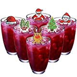 DIYASY 48 Pieces Wine Glass Decorations Kit 6 Different Shaped Cup Paper Card Charms Set for Christmas Party Goblet Markers