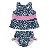 i play. Baby Girls Two-Piece Bow Tankini with Snap Reusable Swimsuit Diaper, Navy Wildflowers, 6mo