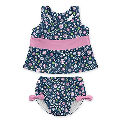 i play. Baby Girls 2pc Bow Tankini Swimsuit Set With Snap Reusable Absorbent Swim Diaper, Navy Wildflowers, 24mo (Suit Tankini Bathing Swim)