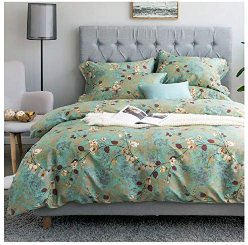 Eikei Vintage Botanical Flower Print Bedding 400tc Cotton Sateen Romantic Floral Scarf Duvet Cover 3pc Set Colorful Antique Drawing of Summer Lilies Daisy Blossoms (Queen, Green Rust)