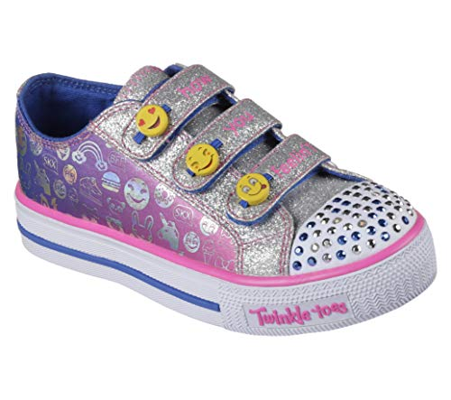 Skechers Little Kid (4-8 Years) Twinkle Toes: Chit Chat-Prolifics Emoji Blue/Neon Pink Light-Up Sneaker - 11 M US Little - Twinkle Toes