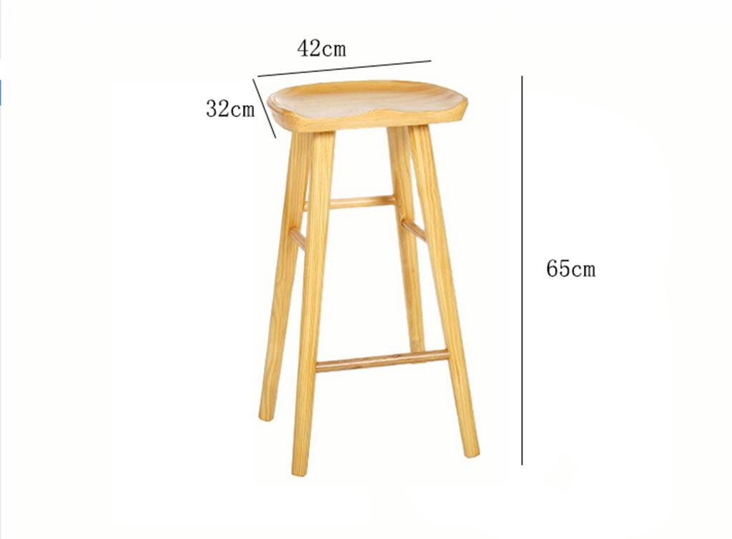 2 wood Wooden Bar Stools Kitchen Breakfast with Footrest 55cm 65cm 75cm Retro Kitchen Trapezoidal Pedal & Human Body Plane Design, 3, Coffee,Simple