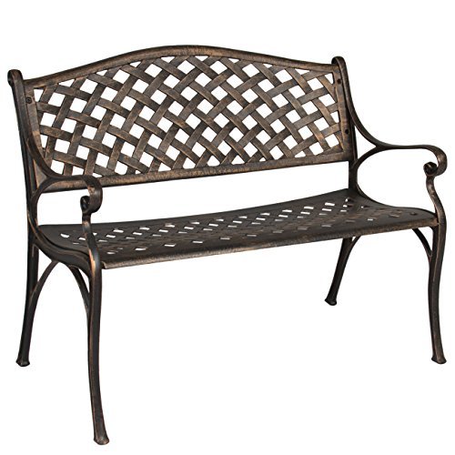 Cast Aluminum Garden Bench (Best Choice Products Cozumel Antique Copper Cast Aluminum Bench Outdoor Patio)