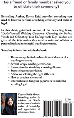 Wedding Officiant Guidebook For Beginners How To Become Ordained And Perform A Marriage Ceremony Script Reid Dayna Amazon Com Au Books