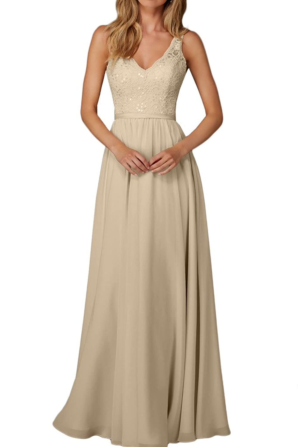 Charm Bridal Long Chiffon Lace V Neck Bridesmaid Women Evening Dress Sleeveless