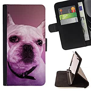 For Sony Xperia Z3 D6603 French Bulldog Boston Terrier Purple Dog Leather Foilo Wallet Cover Case with Magnetic Closure