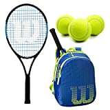 Wilson Ultra Team 25 Inch Junior Tennis Racquet Set or Kit Bundled with a Neptune Blue/Solar Lime Kid's Tennis Backpack and a Can of Tennis Balls