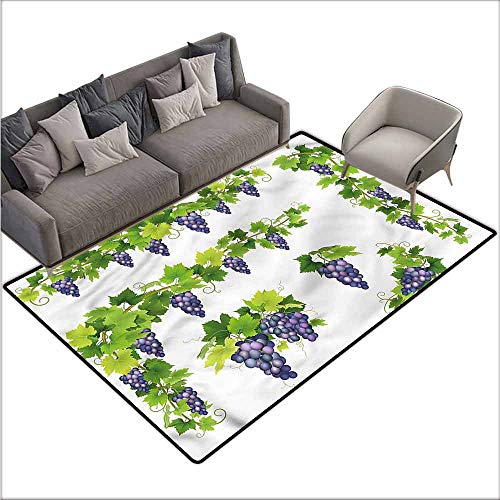 Slip-Resistant Washable Entrance Doormat Vine,Green Leaf Cluster of Berries 36