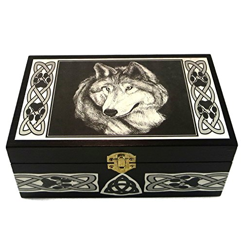 Artist Jewelry Box - Celtic Wolf Box Handmade by Artist Melanie Fuller for Dragon Star Creations LR2995