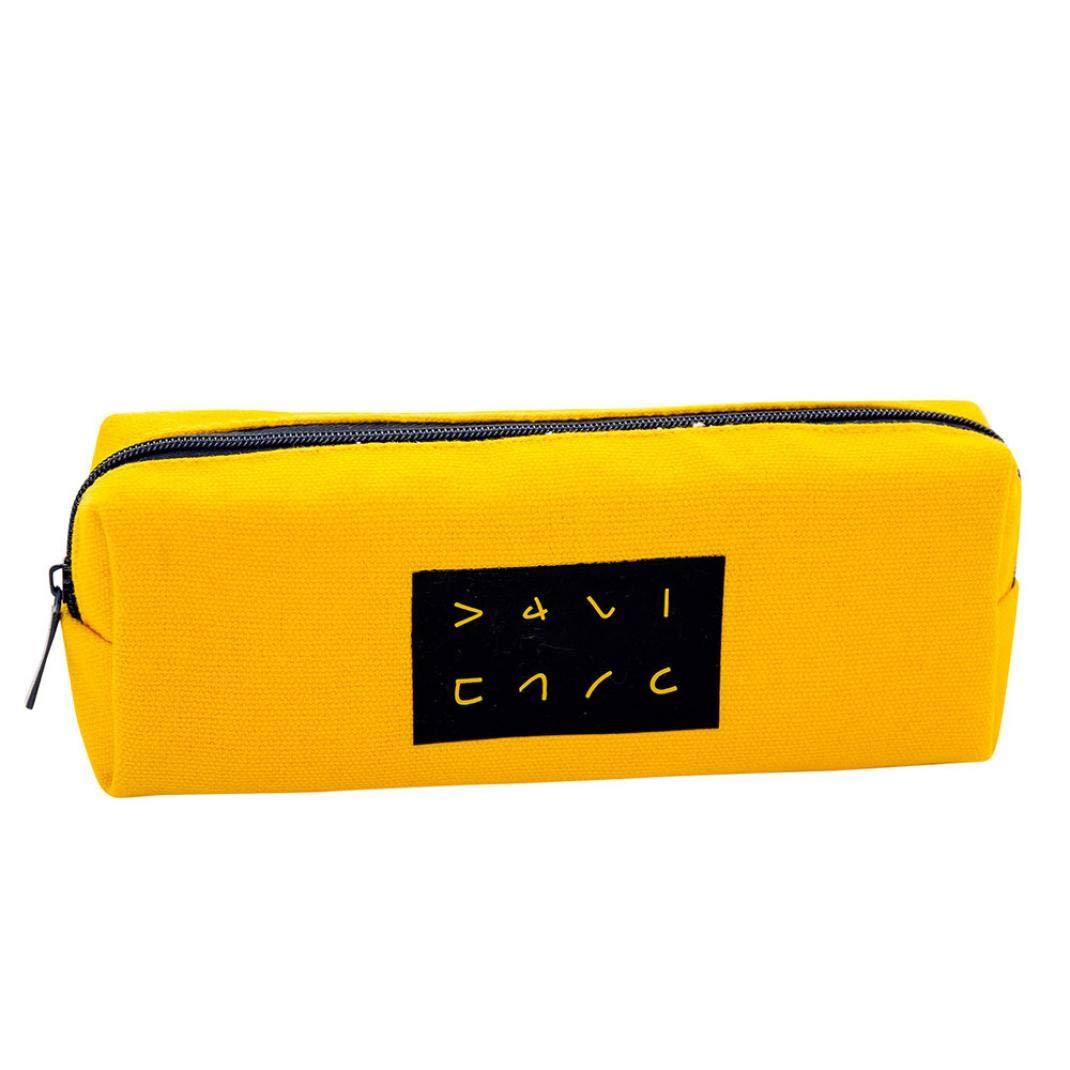 KFSO Pencil Bag,Kawaii Canvas Zipper Pen Bag Big Capacity Stationery Gift Cute Pencil Box Case School Supplies (Yellow)