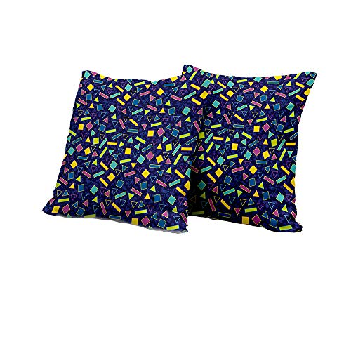 All of better Stool Cushion Cover Funky,Retro 80`s Memphis Fashion Style Vibrant Triangles Squares Rectangles Hipster Pop,Multicolor Outdoor Pillow Covers 24x24 INCH ()