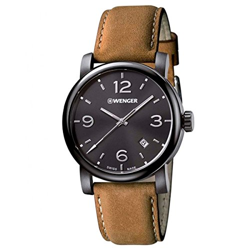 Wenger-011041129-Mens-Urban-Metropolitan-Stainless-Brown-Leather-Band-Black-Dial-Watch
