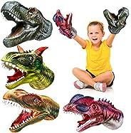 Geyiie Kids Puppets Toys, Dinosaur Hand Puppets Soft Rubber Realistic Dino Head Glove, Tyrannosaurus, Dilophos