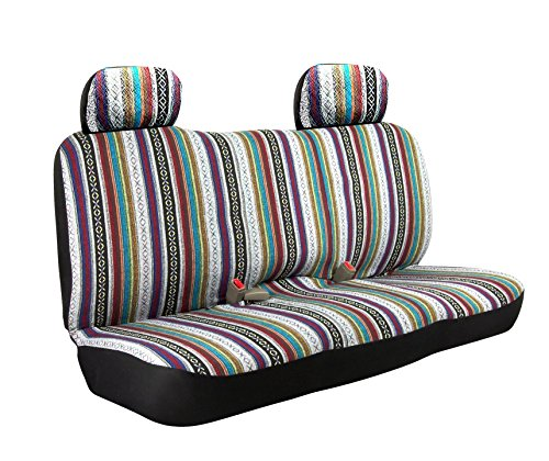 Saddle Blanket WEAVE Baja Inca Bench Seat Cover Full Size Car Truck Suv Standard Fit With Headrest (Seat Bench Standard)