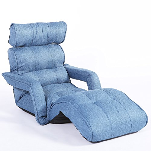 Cozy Kino Pro Floor Sofa Chair Multi-Functional Recliner with Armrest Bed, Dusty Blue Soft Fabric
