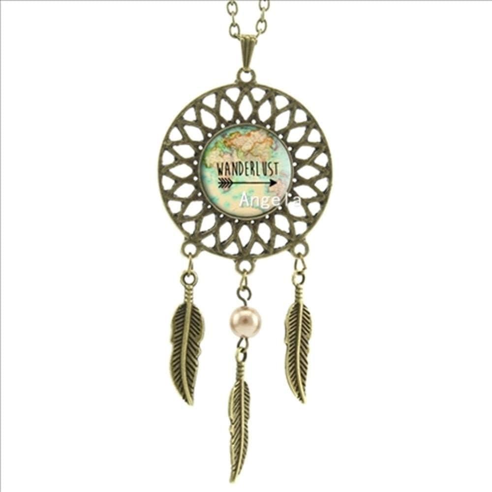 SWAOOS Trendy Style Wanderlust Map Necklace Vintage Map Jewelry Dream Catcher Pendant Dreamcatcher Necklace