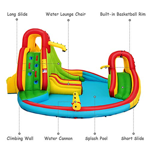 Costzon Inflatable Bounce House, 7 in 1 Mighty Pool Slide, Bouncer w/Climbing Wall, Basketball Rim, Splash Pool, Water Cannon, Including Oxford Carry Bag, Repairing Kit, Stakes (with 735W Air Blower)