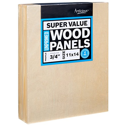 Artlicious - 4 Super Value Wood Panel Boards - Great Alternative to Canvas Panels, Stretched Canvas & Canvas Rolls (11x14, Standard Profile)