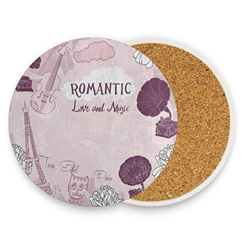 LoveBea Eiffel Tower Floral Guitar Coasters, Protection for Granite, Glass, Soapstone, Sandstone, Marble, Stone Table - Perfect Cork Coasters,Round Cup Mat Pad for Home, Kitchen Or Bar Set of 4