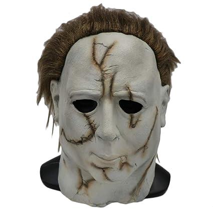 QQWE Halloween Horror White Face Scar Mask Máscara De Látex Fiesta De Disfraces Película Cosplay Head