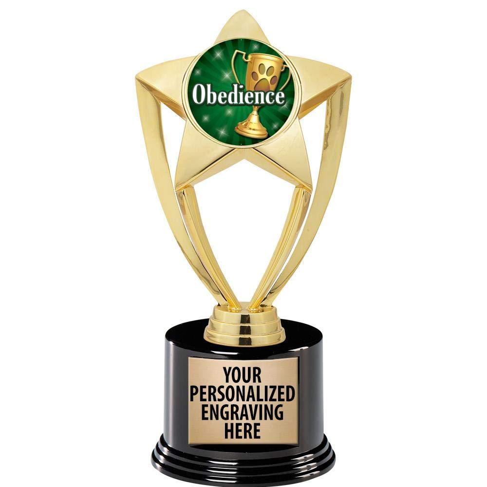 Crown Awards ペットショー トロフィー 8インチ ゴールド スター オベディアンス トロフィー デラックスラウンドベース