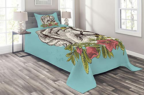 Ambesonne Floral Coverlet Set Twin Size, Boho Style Horse Opium Blossoms Poppy Wreath Equestrian Illustration, 2 Piece Decorative Quilted Bedspread Set with 1 Pillow Sham, Turquoise Green