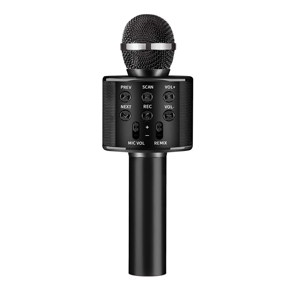 Denret3rgu WS858 Micr/ófono inal/ámbrico de Condensador de Karaoke Bluetooth con Sonido est/éreo de Mano Rose Gold