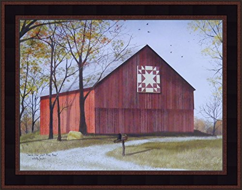 Amish Star Quilt Block Barn by Billy Jacobs 15x19 Red Barn Country Landscape Primitive Folk Art Print Framed Picture (Country Black Woodtone)