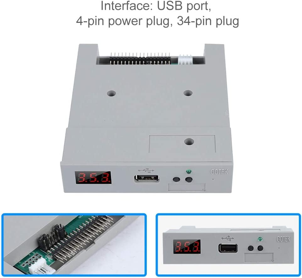 Oumij USB Emulator,SFR1M44-U100 3.5in 1.44MB USB SSD Floppy Drive Emulator,Plug and Play,Built-in Memory,Highly Data Protection Update Version,White,Industrial Control Equipment