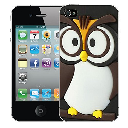 Mobile Case Mate iPhone 4 Silicone Coque couverture case cover Pare-chocs + STYLET - Tawney Owl pattern (SILICON)