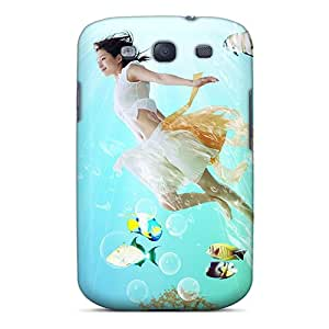 Anti-Scratch Hard Phone Cover For Samsung Galaxy S3 With Unique Design Nice Fish With Girl Series TimeaJoyce