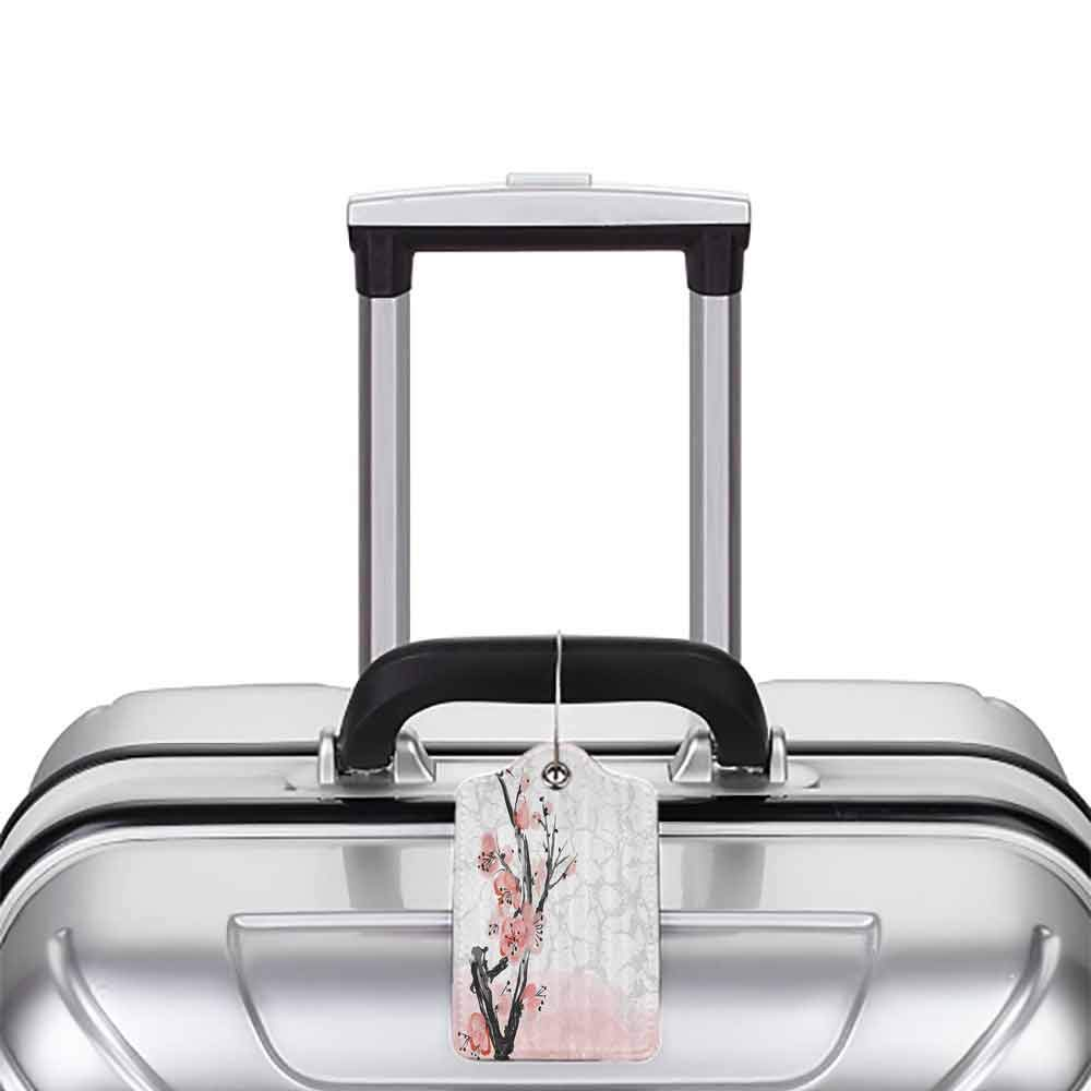 Durable luggage tag Floral Japanese Cherry Blossom Sakura Tree Branch Soft Pastel Watercolor Print Unisex Coral Light Pink Grey W2.7 x L4.6